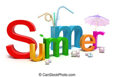 verano, colorido, palabra, cartas