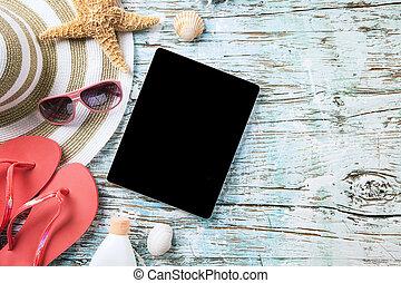 verano, concepto, accesorios, tableta