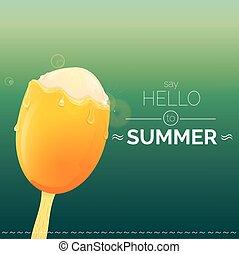 verano, concepto, creativo, fondo., vector, hola