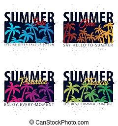verano, conjunto, cartel, card., palmas, cartel, venta, tropical, time., vector, aviador, invitación, banderas, sunset.