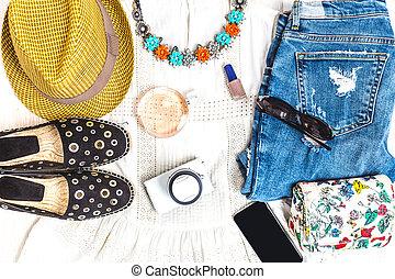verano, conjunto, clothes.