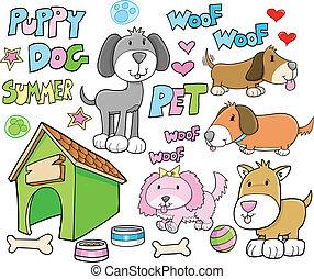 verano, conjunto, mascota, perro, vector, perrito