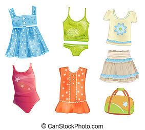verano, conjunto, niñas, ropa