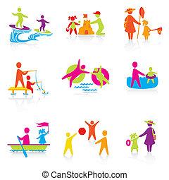 verano, conjunto, silueta, gente, family., hombre, iconos, -, niño, niño, padre, vector., tiempo, mujer, mother., niña, niño