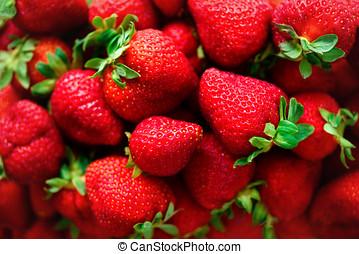 verano, copia, orgánico, sano, macro, concept., space., texture., fresa, fresas, vegetariano, plano de fondo, vegetariano, vista., bayas, cima, comida.
