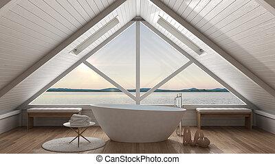 verano, cuarto de baño, desván, panorama, clásico, grande, mezzanine, escandinavo, ventana, ocaso, mar, minimalista, diseño de interiores, salida del sol, o