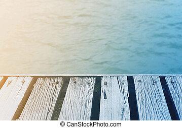 verano, cubierta, de madera, vendimia, encima, mar, tiempo