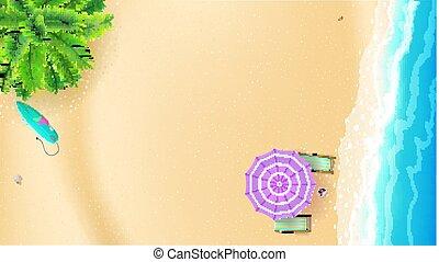verano, cubierta, momentos, costa, palma, arenoso, lay., sol, cima, mejor, plantilla, playa, oleaje, plano, playa., cartel, cubierta, plano de fondo, ondas, surfboard., sillas, vector, verano, paraguas, vista