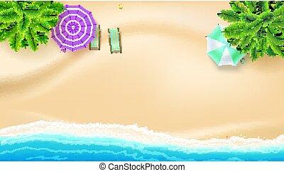 verano, cubierta, momentos, mar, palma, mejor, lay., sol, cima, accessories., playa arenosa, oleaje, plano, playa, plano de fondo, ondas, chairs., orilla, vector, summer., paraguas, vista