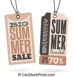 verano, cuelgue, ventas, etiquetas