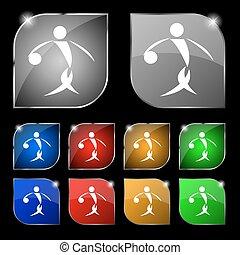 verano deportivo, baloncesto, icono, signo., conjunto, de, diez, colorido, botones, con, glare., vector