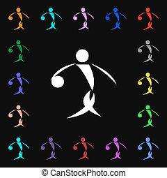 verano deportivo, baloncesto, icono, signo., lotes, de, colorido, símbolos, para, su, design., vector