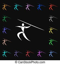 verano deportivo, jabalina, tiro, icono, signo., lotes, de, colorido, símbolos, para, su, design., vector