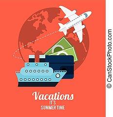 verano, dinero, viaje, -, vacaciones, tiempo, transporte