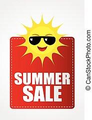 verano, divertido, sol, venta, caricatura, icono