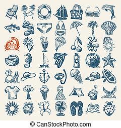 verano, empate, 49, iconos, bosquejo, colección, mano