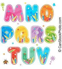 verano, escuela, conjunto, cartas, primavera, alfabeto, -, m, v, o