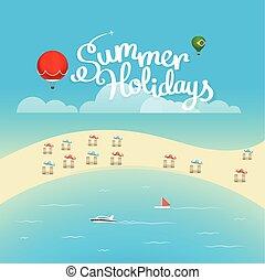 verano, estación, vector, concept., vacaciones del verano, ilustración