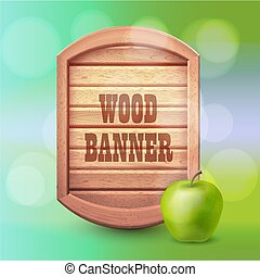 verano, estilo, viejo, apple., madera, verde, occidental, plano de fondo, bandera, design.
