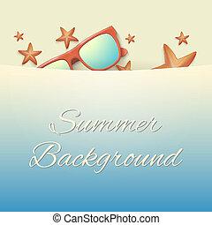 verano, estrellas de mar, sunglasses., plano de fondo, playa...