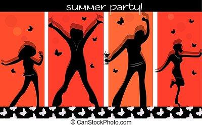 verano, fiesta, gente