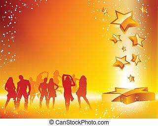 verano, fiesta, multitud, bailando, estrella, amarillo,...