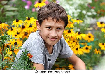 verano, flor, viejo, niño, contra, años, 10