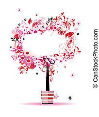verano, floral, árbol, en, olla, para, su, diseño