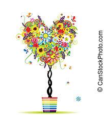 verano, floral, árbol, forma corazón, en, olla, para, su, diseño