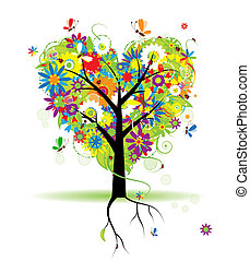 verano, floral, árbol, forma corazón