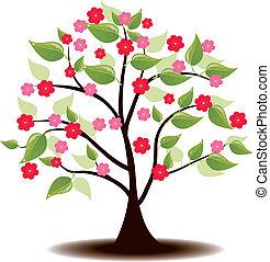 verano, flores, árbol, ilex