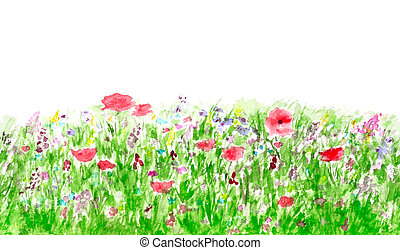 verano, flores, acuarela, seamless