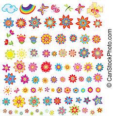 verano, flores, conjunto