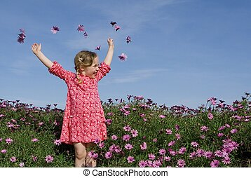 verano, flores, feliz, niño