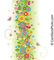 verano, flores, frontera, seamless