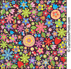 verano, flores, papel pintado