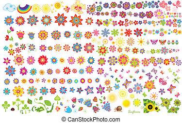 verano, flores, sol, y, mariposas