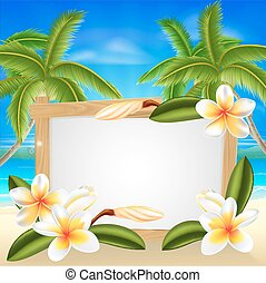 verano, frangipani, muestra de la playa