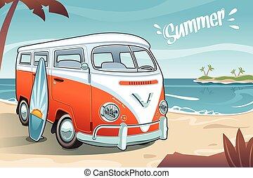 verano, furgoneta, en la playa