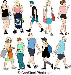 verano, gente, compras