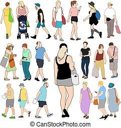 verano, gente, compras, grande, conjunto