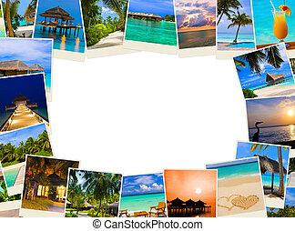 verano, hecho, marco, maldivas, imágenes, playa