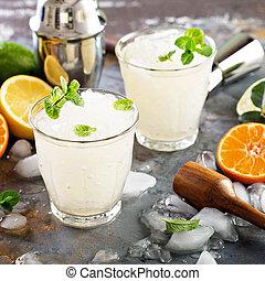 verano, hielo, refrescante, cóctel, aplastado