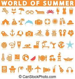 verano, icono, conjunto