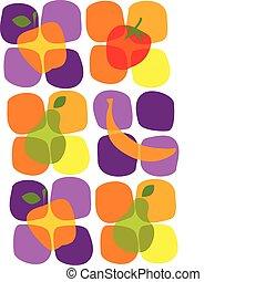verano, iconos, sano, ilustración, fruta, vector
