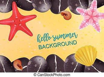 verano, illustration., habitantes, sand., vacaciones,...