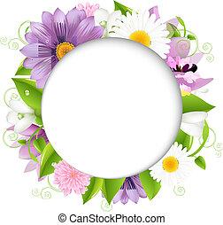 verano, ilustración, con, color, flor