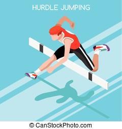verano, Ilustración, salto,  vector, valla, juegos, atletismo,  2016,  3D