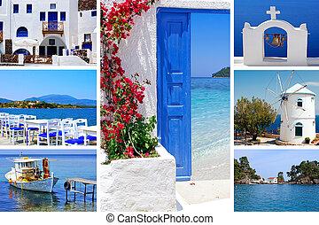 verano, isla, collage, fotos, santorini, grecia