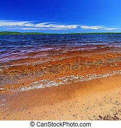 verano, lago, paisaje, gogebic